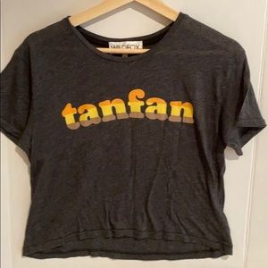Wildfox tanfan charcoal crop t size small